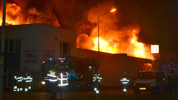 Fire raging  an industrial site in Maastricht