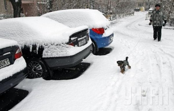 Heavy snow in Kyiv today