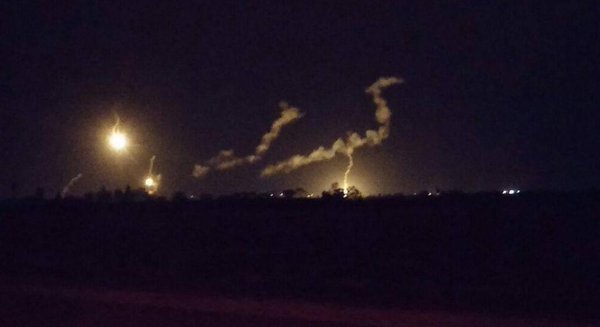 Flares being shot by IDF along Gaza border following reports of a suspect nearing security fence.