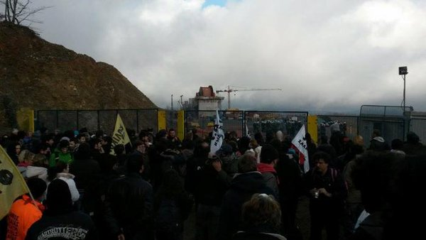 Greece: Protest march in Skouries forest against destructive gold mining repressed by the state with tear gas.