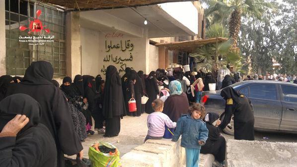 IS food distribution lines in Raqqa