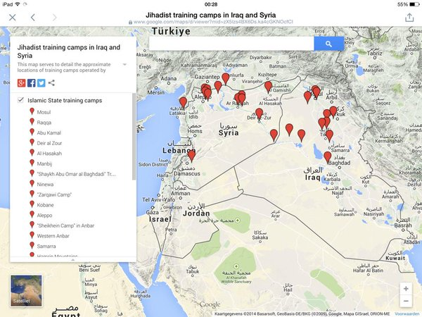 Jihādī training camps: supposed locations in Syria and Iraq