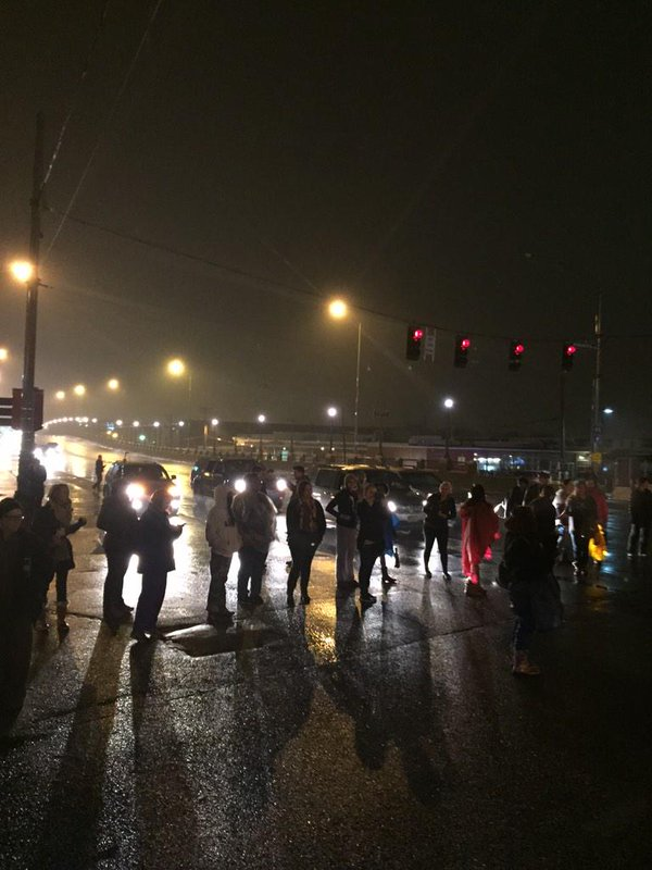 Demonstrators have shut down the intersection of Manchester Ave & Kingshighway Blvd Shaw