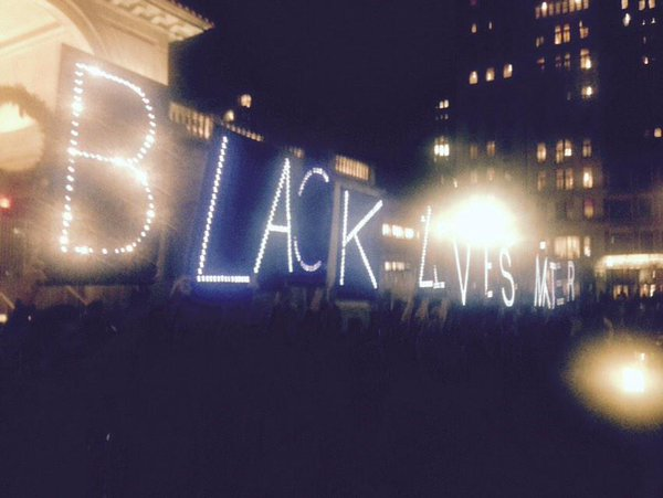 200ish gather in NYC's Union Square. BLACK LIVES MATTER Fergsuon