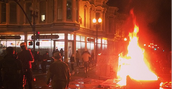 Fires are now burning at protests in Oakland too. Ferguson