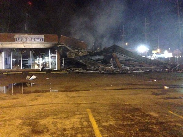 The destruction on W. Florissant near Chambers in Dellwood. Fergsuon