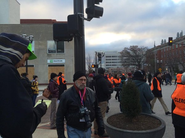 Legal observers on the scene at peaceful Ferguson protest in Clayton