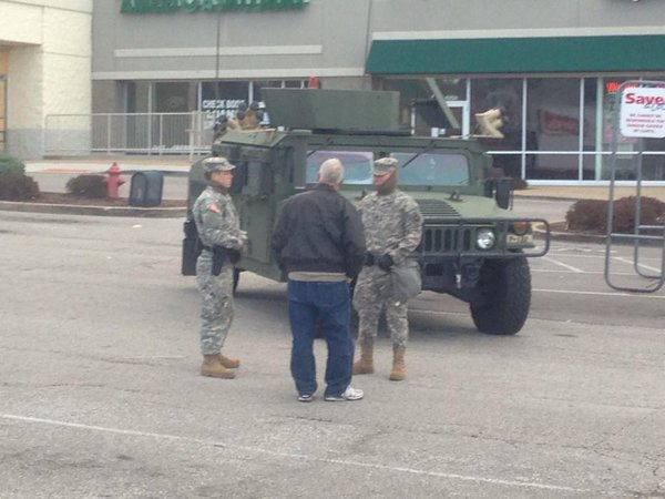 This morning in Dellwood. National Guard stationed outside stores. Fergsuon
