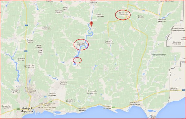 Russia forces move along line from Pavlopol, Chermalyk to Telmanovo Ukraine near Mariupol