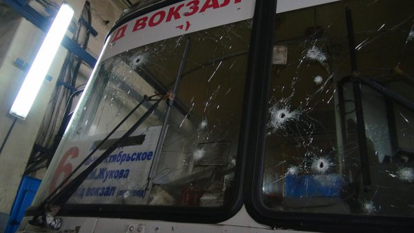 Minibus after shooting in Donetsk
