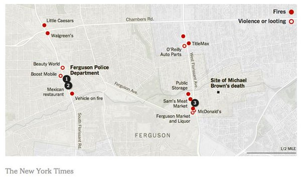 A map of Ferguson via NYT, red dots are violent parts last night