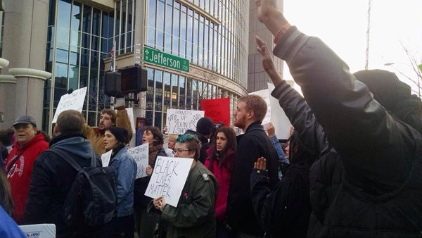 Louisville residents protested in front of police headquarters a day after the FergusonDecision