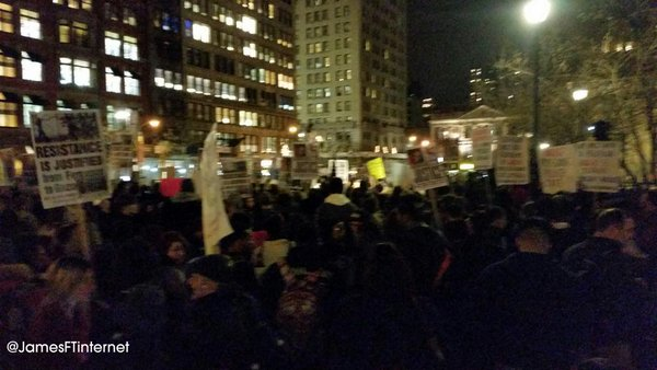 NYC to Ferguson crowd is growing very quickly. Anticipate 7pm action MikeBrown EricGarner AkaiGurley