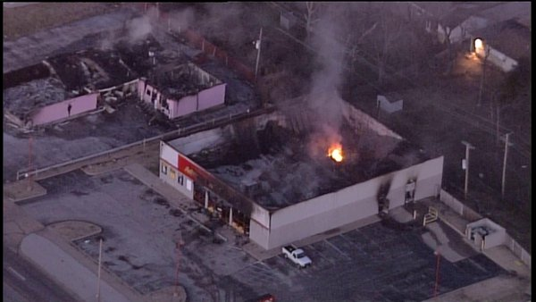 Fire rekindles at burned out Advance Auto Parts store on W. Florissant in Ferguson, MO