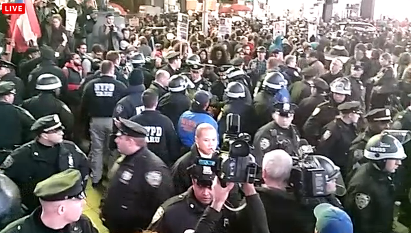 Reports of pepper spray deployed in Times Square