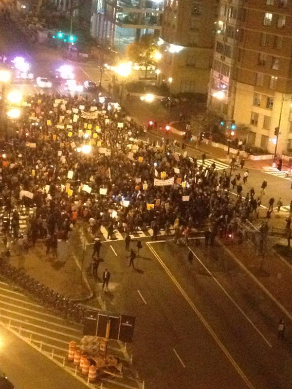 Ferguson protests shut down Massachusetts Ave DC. Chant: 'BlackLivesMatter'