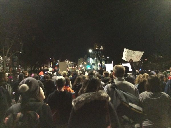 Thousands of people in every single direction taking streets of boston. NoIndictment IndictBoston BlackLivesMatter