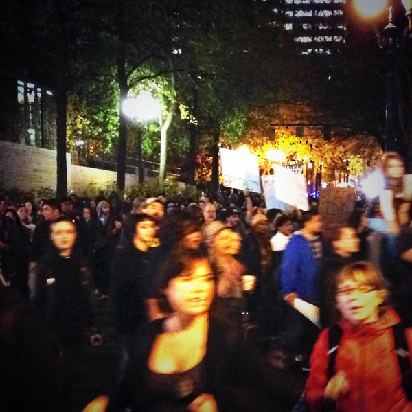 Ferguson protest march in downtown Portland