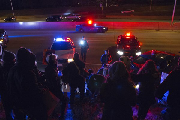 Police cleared protesters off I-75 in Detroit tonight after demonstrators blocked traffic. Ferguson