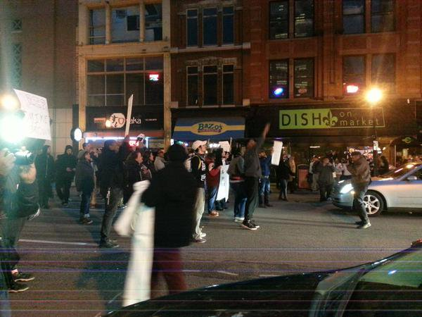 Market St Shutdown At  Louisville, Kentucky Protest In Solidarity With Ferguson