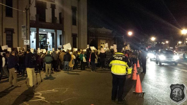 Approx 400 ppl. gathered for Ferguson demonstration in downtown NorthamptonMA .  No arrests, no injuries.