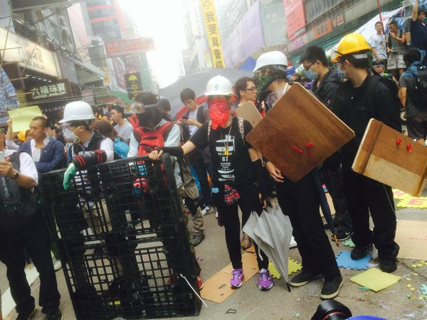 Occupy protesters with makeshift shields prepare for police action OccupyHK OccupyMK UmbrellaMovement