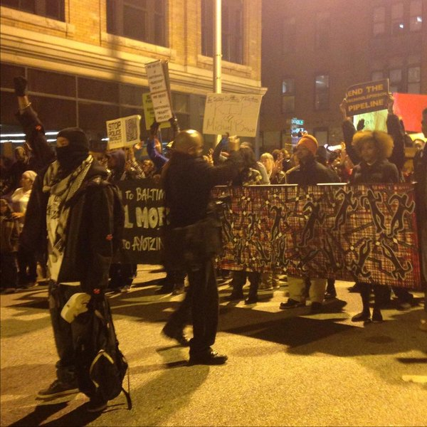 March, organized by Baltimore Bloc, began near City Hall and went throughout the downtown area Ferguson