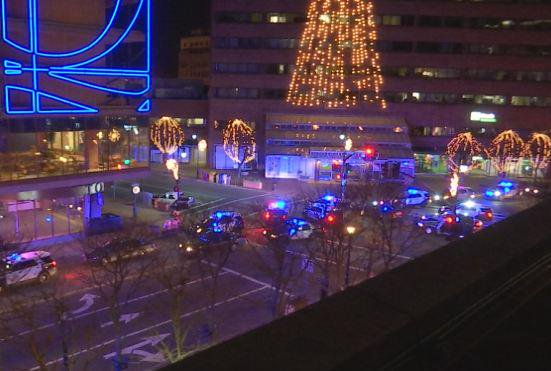 A shot from above as Springfield PD shut down Main St. while Ferguson protestors marched through. WesternMA.