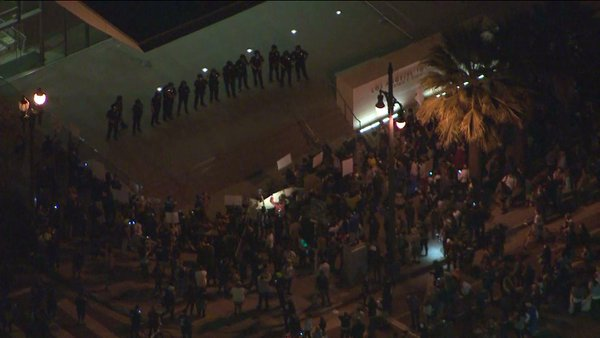 Ferguson protesters in downtown LA have reached LAPD headquarters