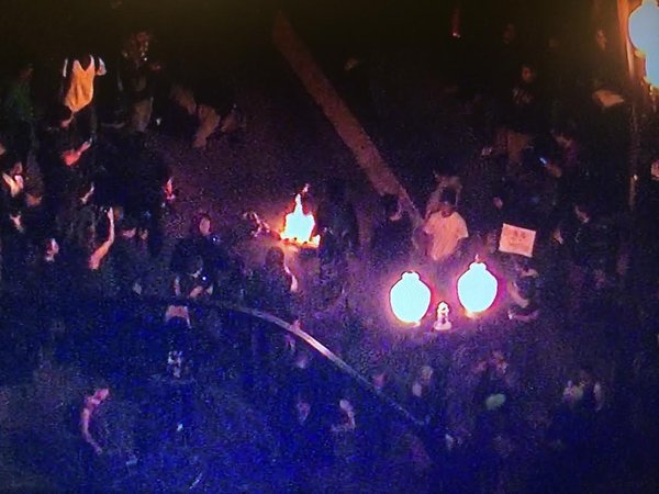 Protestors at 8th & Broadway in Oakland start fire in 2nd night of demonstrations. Ferguson