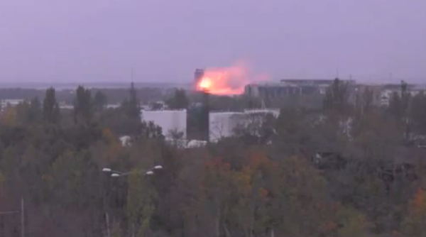 Heavy shelling at Donetsk airport in Ukraine today