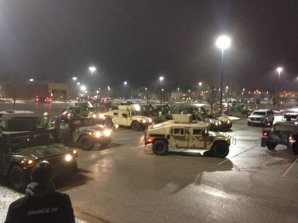 The National Guard, that very reassuring presence on a Target parking lot in Ferguson