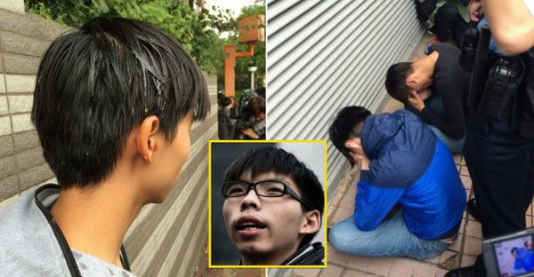 Joshua Wong hit by an egg outside court