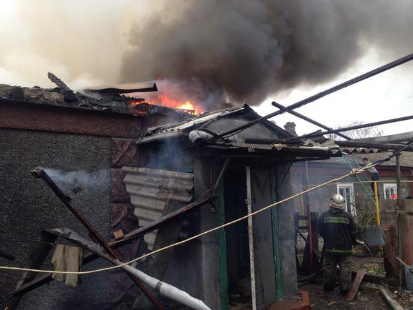 Donetsk. Kuibyshev district. Street Smolny 20. Burning house