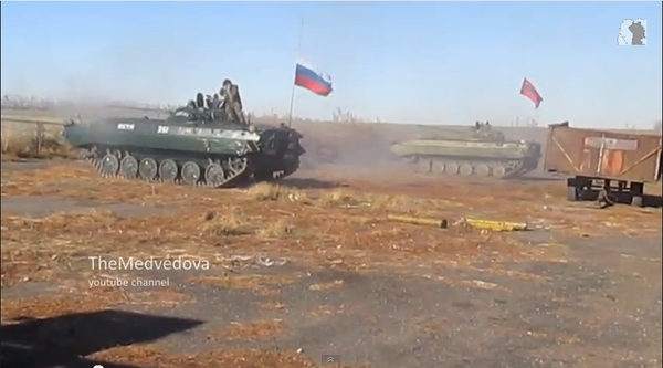Russia militaries are shooting with APCs in Ukraine