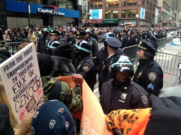 NYPD had StopTheParade protesters outnumbered & didn't hesitate to swing batons & arrest NYC