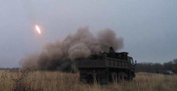 Russia MLRS shelling Ukraine