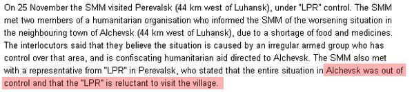 Monitors of @OSCE_SMM claims about the deterioration of the situation in the Alchevsk