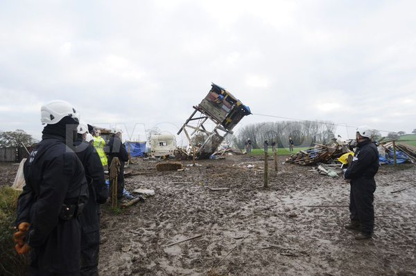 UK: Bailiffs evict antifracking protesters from protest camp near Wrecsam in North Wales.