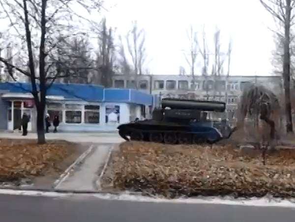 Russia|n BTS-4 spotted near Rostov 3 days ago is filmed today driving round Donetsk