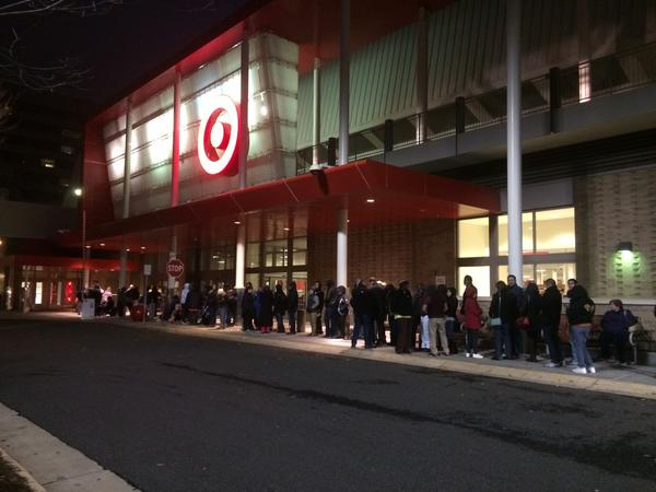 The line to get into Target is finally starting to move. Some of these people have been waiting for three hours.