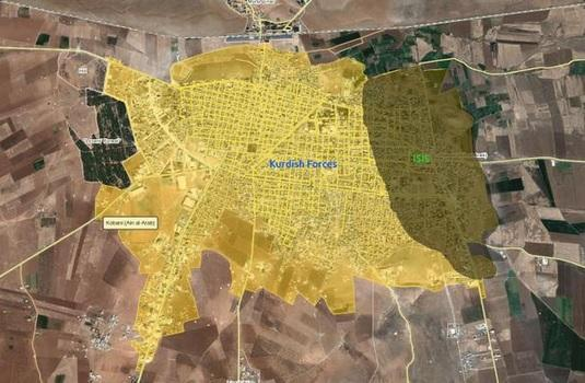 Latest situation map in Kobane. It's practically ISIS-free