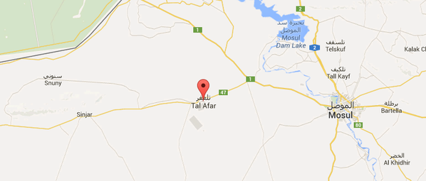 Airstrike against ISIS in Tal Afar (east of Mt Shingal) annihilated an ISIS unit