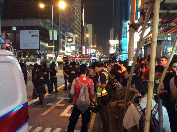 Nathan Rd, at Argyle junction right now. OccupyHK UmbrellaRevolution