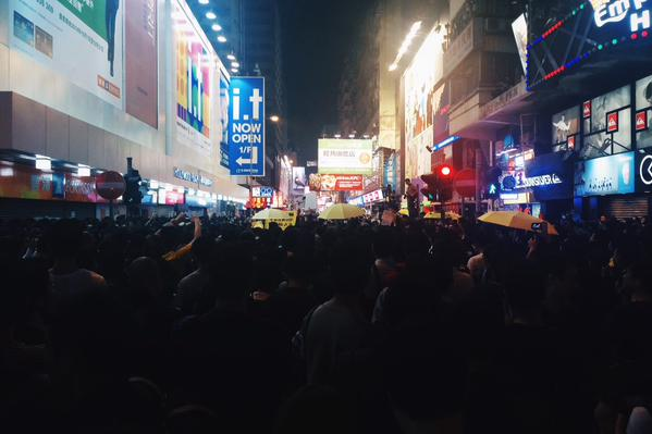 At the junction of SYC and Soy Streets, lots of chanting OccupyHK umhk