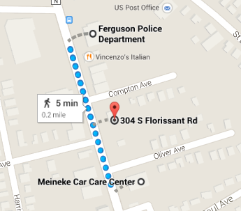 For perspective on the 2 cop cars torched on Mon. The 1st one was 1 block from Ferguson PD and the 2nd was 2 blocks.