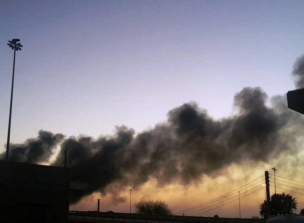 Thick smoke near University of Benghazi as a result of ongoing violent clashes