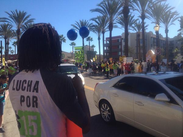 Crowd growing at Long Beach @Walmart - If you don't respect the workers, you don't respect our community!