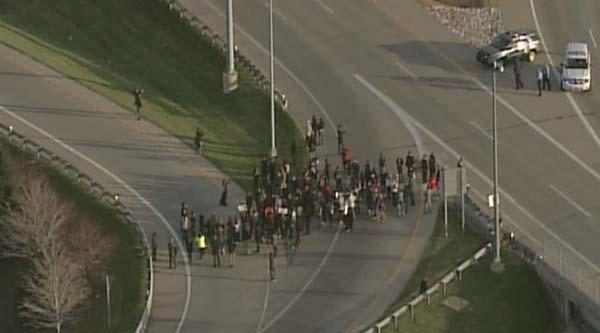 Protesters blocked entrance ramp on I-270 northbound from Manchester at 3:45 p.m.