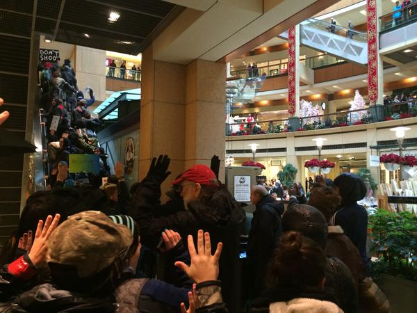 Protesters in Seattle have now pushed their way into Pacific Place shopping center